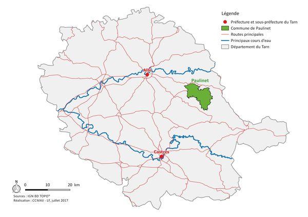 Localisation de Paulinet dans le Tarn