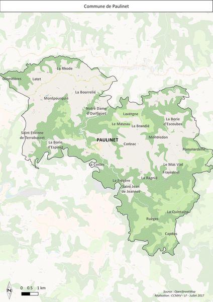 Carte du territoire de Paulinet